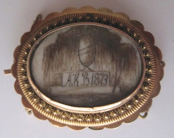 Antique mourning clasp with Urn miniature, hair & sepia, 1873