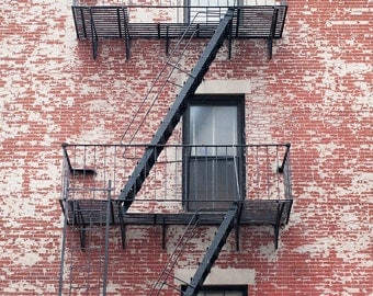 Red Brick Photography print or canvas, New York wall art, brick wall facade, fire escape print, urban home decor, rustic art photography