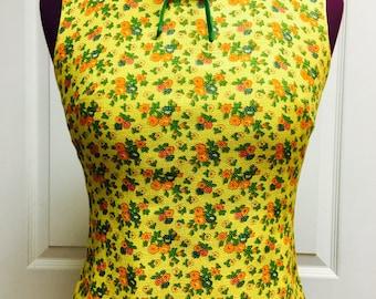 Vtg 1960s STANTON JRS. Petite MOD retro Yellow Floral Princess Cut Manderin Collar Fully Lined Sleeveless Rockabilly Summer Top Sz Small