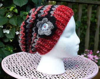 Red Black and Gray Beanie