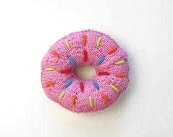 Donut, baby rattle, crochet