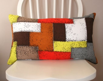 Cushion Cover, 1950s Barkcloth, Vintage Zip, Geometric, Red, Yellow, Brown, White, Grey