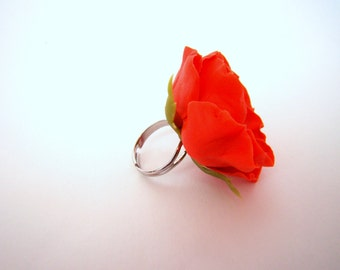"Ring ""Poppy"" from the self-hardening polymer clay in the air (cold porcelain)"