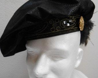 New Black Renaissance Medieval Tudor Floppy Muffin Hat Cap Costume