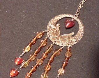 """Handmade """"Hearts Aflame"""" Beaded Necklace"""