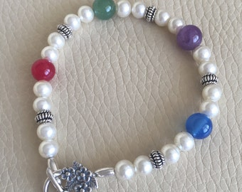 Gemstone, Pearl and Bali Bead Sterling Silver Bracelet // gift for her // special occasion