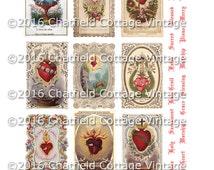 Antique Religious Digital Download - Sacred Hearts - Digital Holy Cards - Printable Art - Catholic - Scrapbook - Journal Collage Sheet