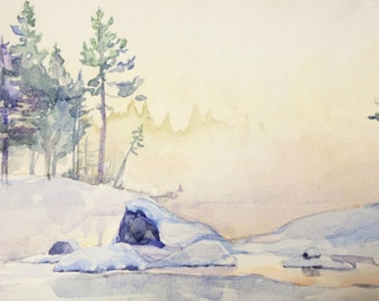 "Winter lake ORIGINAL watercolor painting 11'' x 6'' on 12"" x 7'' paper"