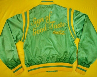 Vintage Coca Cola Jacket Varsity 1997 for Womens size Large Nylon Embroider Springgreen