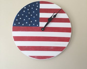 American flag clock, 18 inches