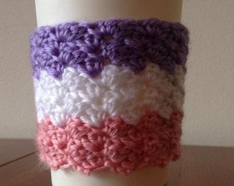3-stripe textured crochet travel mug cosy