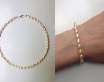 Natural Pearls Jewelry Set,  Freshwater Pearls Necklace and Bracelet, Champagne Pearls Jewelry Set, Wedding Set