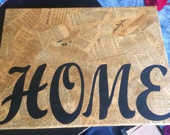 "Handmade ""Home"" Canvas Wall Decor"