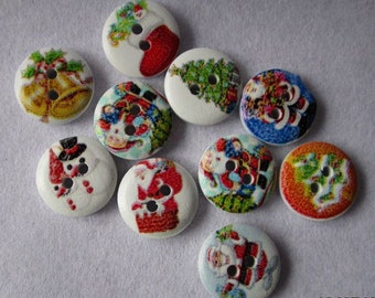 Christmas buttons - 10 pcs