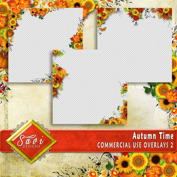 CU or PU Commercial Use PNG Overlays x 3 for Digital Scrapbooking or Craft projects Autumn Time Set 2, Designer Stock Papers