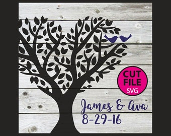 Birds in Tree, svg, cut, files, vector, decal, clipart, love, heart, wedding, couple, family, sign, anniversary, love birds, file