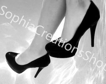 High Heels Underwater in Black and White