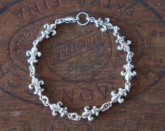 Solid Silver Antique Fleur de Lys Bracelet