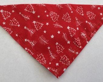 Red and white Christmas tree Christmas dog bandana