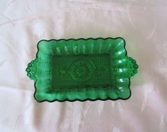 Vintage Ornate Green Glass Serving Dish,Decorative Dish, Butter Dish,Candy Dish