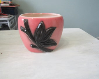 CLEARENCE Vintage Vase, Cachet Pot, Planter, Display Piece, Decorative Piece Pink with Black Leaves and Stem -228