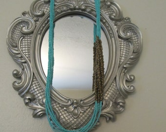 Turquoise and Gold Beaded Necklace