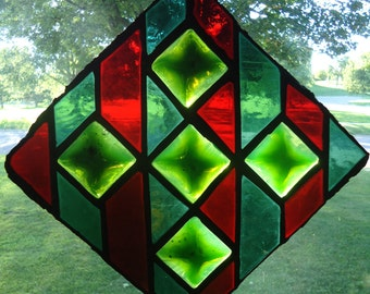 Vintage church stained glass - Glass suncatcher - Vintage stained glass - Stained glass medallions - Colorful stained glass - Antique glass