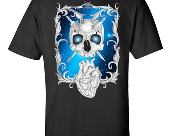 Skull and heart tattoo style t shirt by invasion Clothing