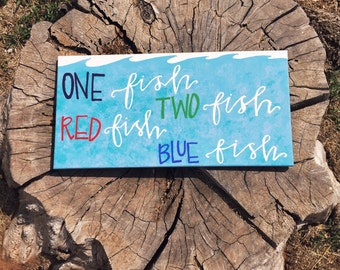 One Fish Two Fish Red Fish Blue Fish| Dr. Seuss Quote| Canvas Quote| Cat In The Hat| 12x24 Canvas