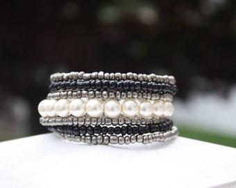 Pearly White Wrap Bracelet