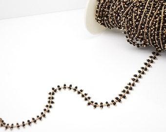 20cm chain Golden pearls Black Rock - fantasy - golden chain chain - black string - string rock
