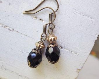 Black Earrings ~ Small Black Glass ~ Dangle Earrings ~ Vintage Style ~ Black Drop Earrings ~ Boho Style ~ by WakesTheDawn