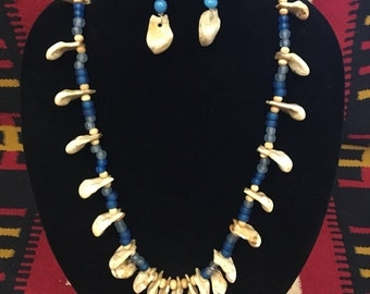 High Plaines Native American Elk Tooth and Vaseline Bead Necklace and Earrings