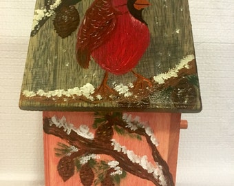 Cardinal Birdhouse//Hand Painted Birdhouse//Collectible Birdhouse//Missouri State Birdhouse