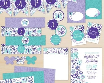 Butterfly Party Package, Baby Shower Decorations, Birthday Party Decorations - Purple and Teal - Personalized, Printable