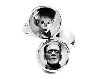 Frankenstein and Bride Double Ring Adjustable ring Geeky Jewelry Fanboy Fangirl