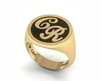 14k gold signe ring Personalized Initial Ring. by Hendesign