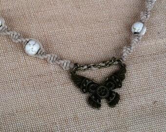 Steampunk Butterfly Hemp Necklace