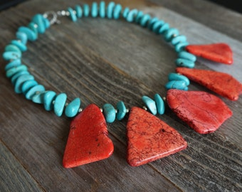 Coral and Turquoise Statement Necklace, Red Slab Statement Necklace, Chunky Stone Statement Necklace, FreeForm Stone Statement Necklace