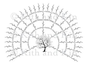 Blank Genealogy Family Tree Fan Chart - 5 Generations
