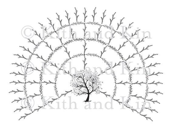 blank genealogy family tree fan chart 5 generations