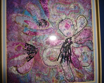 Free Machine Embroidery silk picture 'Fuschias' with added beads