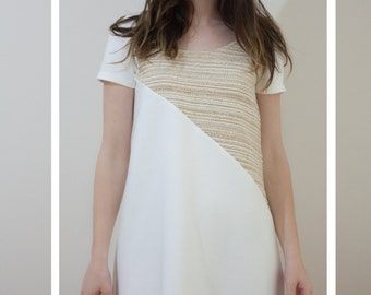 Sixties white and gold dress