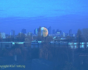 Moon rising in Paris Photographic Art