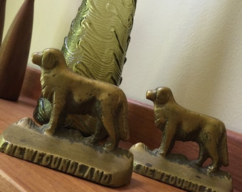 Pair of vintage Newfoundland NAFCO brass dog bookends! Rare!! Antique!!