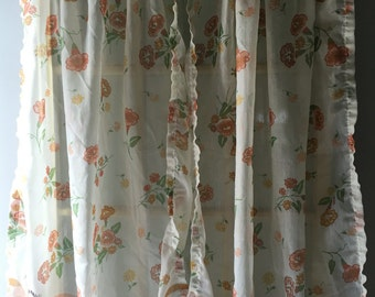 Vintage Sears Curtains Green Orange Flowers Bows Sheer