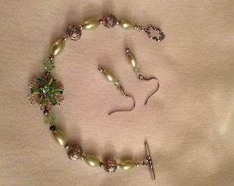 Periot & Swarovski Cyrtal Bracelet/Earings