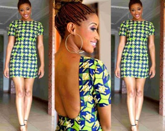 Backless African Print Mini Dress