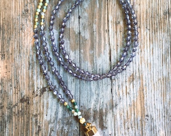 Gray and green beaded necklace