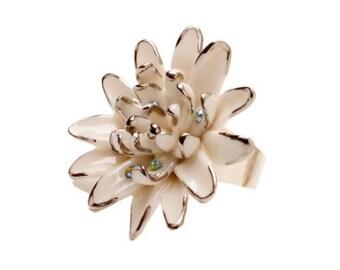 Porcelain Silver Gerbera Ring/ Gerbera/ Ring/ Porcelain Ring/ Silver Gerbera/ Flower Ring/ Fower